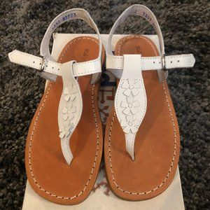 Girls Kid Express White Leather Flower Sandals